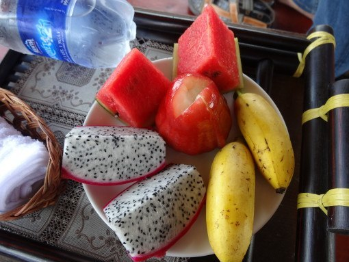 Dragonfruit, Lady Finger Bananas, Rose Apples and Watermelon