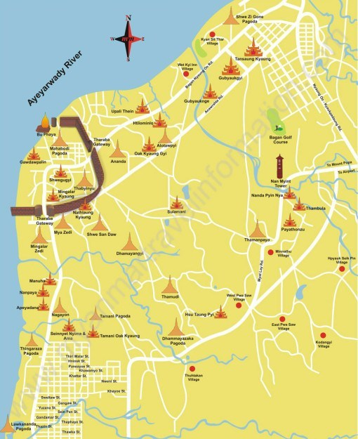 Map of Bagan - insidevietnam Tours