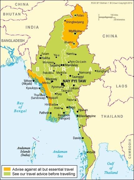 Burma Travel Map - InsideBurma Tours