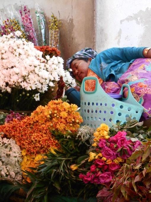 Sleeping Flower Seller - InsideBurma Tours