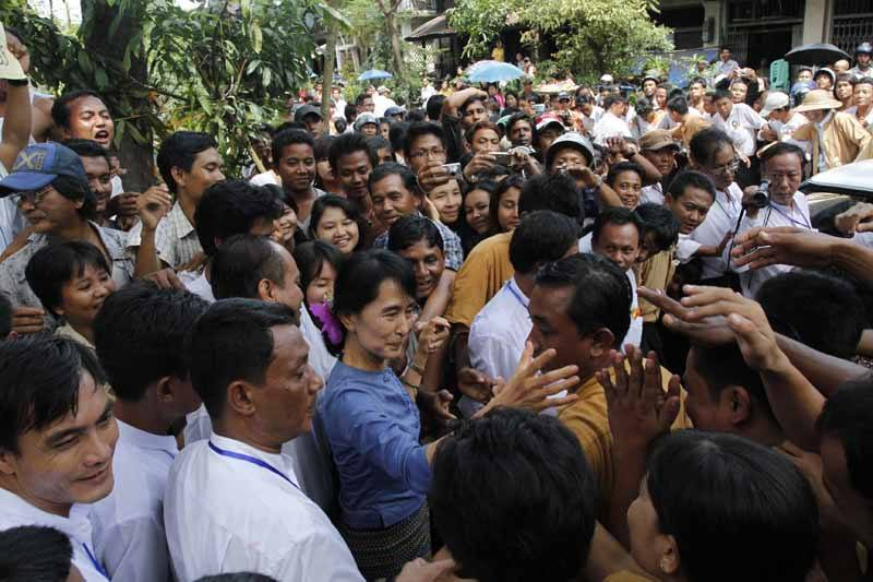The Lady greeting supporters in Bago