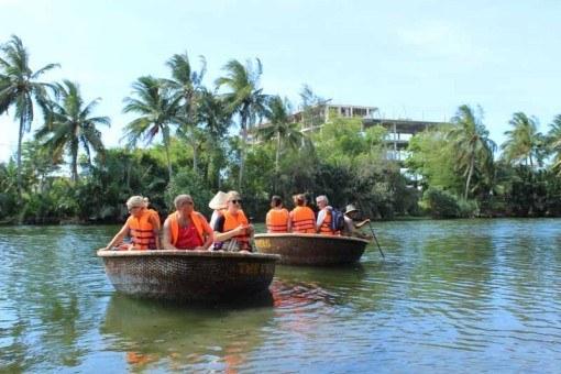 Enjoying a basket boat ride on the Thu Bon River, Hoi An