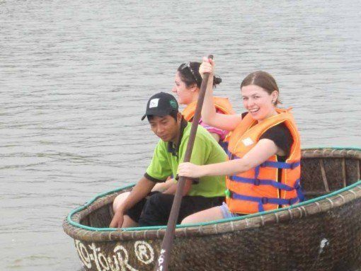 InsideAsia's Ruth trying out her paddling skills
