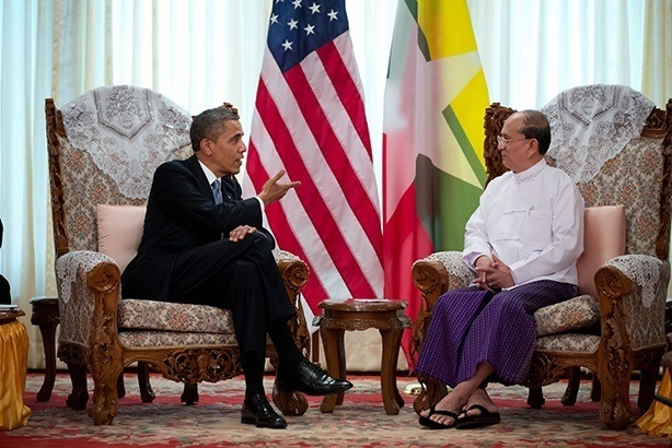 Burma's current president, Thein Sein, meets President Obama in 2012. InsideBurma Tours