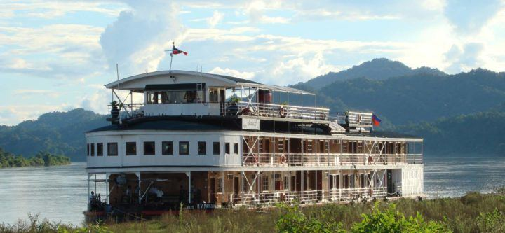 Luxury cruise ship on the Irrawaddy River