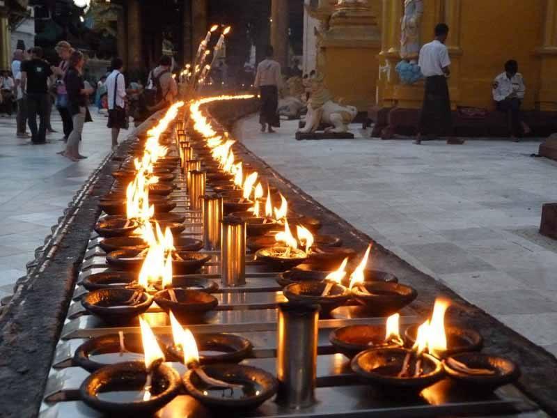 Oil lamps at Shwedagon Pagoda