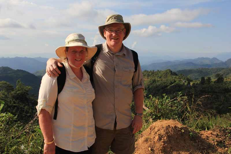 Alistair & Lesley in the beautiful hills of Kalaw