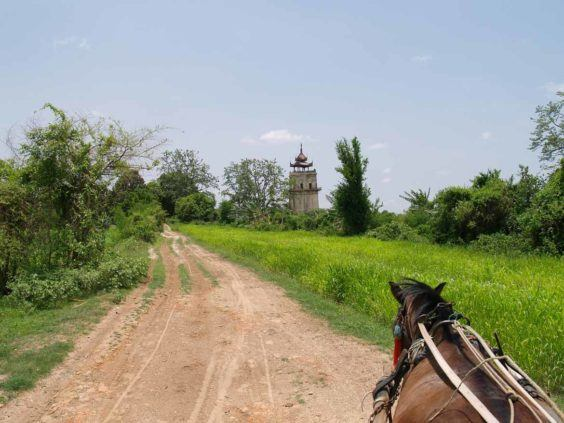 Exploring the ruins of Ava by horse-drawn cart