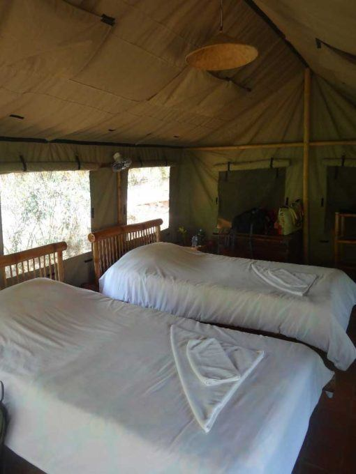 Inside the safari tents
