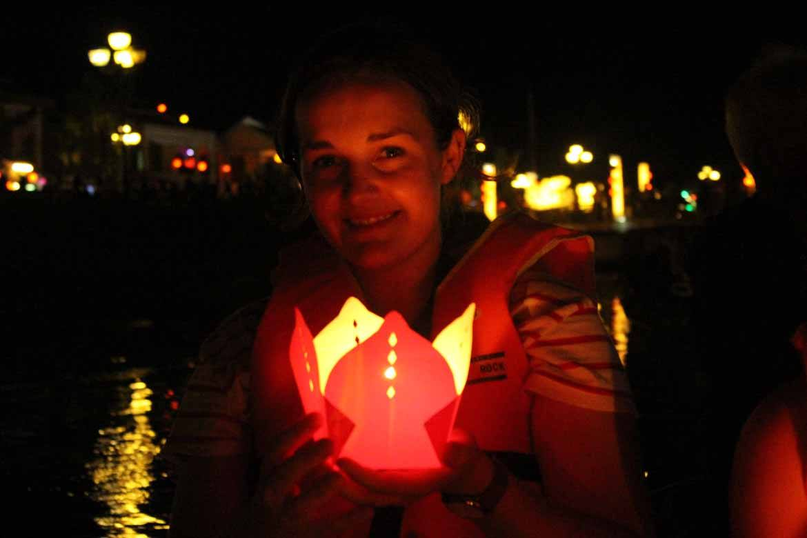 Getting ready to float my lantern at the festival in early 2016