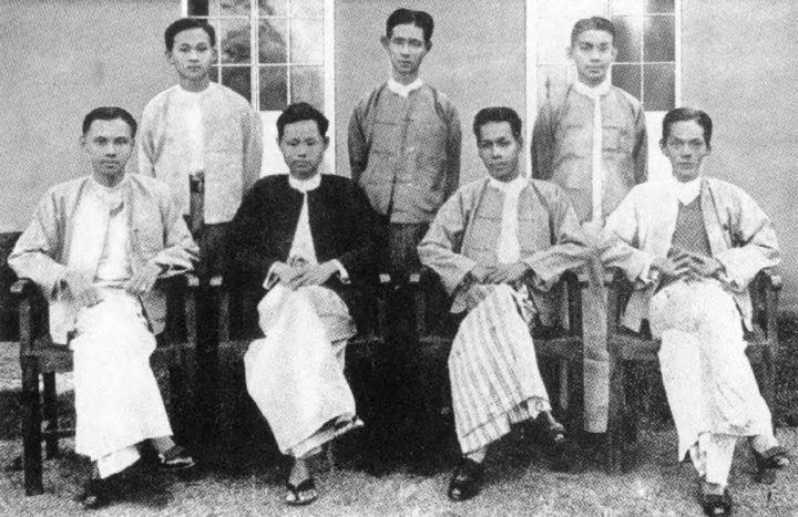 General Aung San (third from left) as a student in 1936.