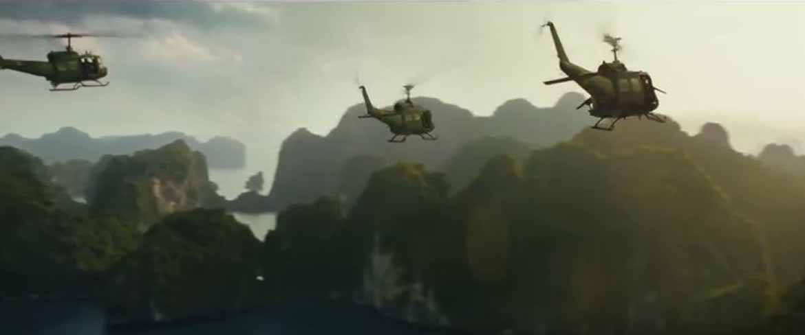 Helicopters soar over mysterious islands