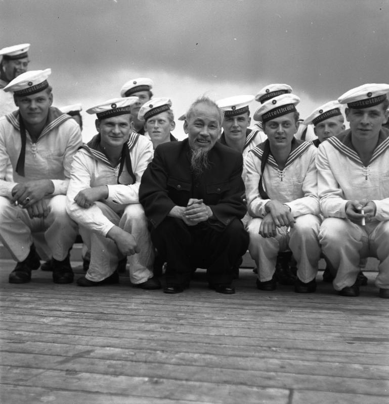 Ho Chi Minh with East German sailors in Straslund Harbour, 1957