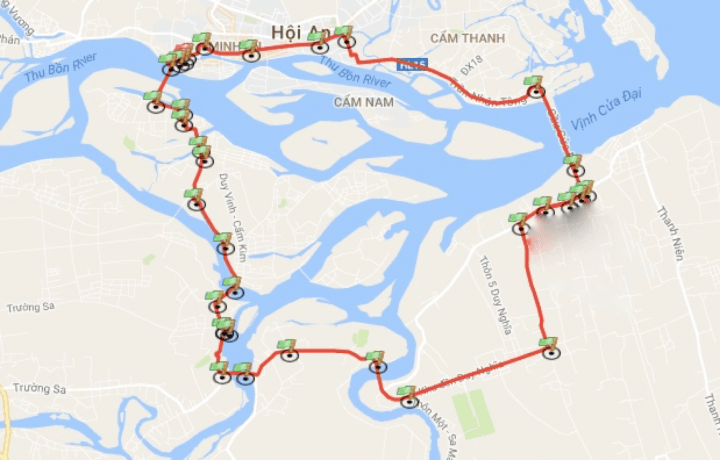Map of cycling route in Hoi An Vietnam