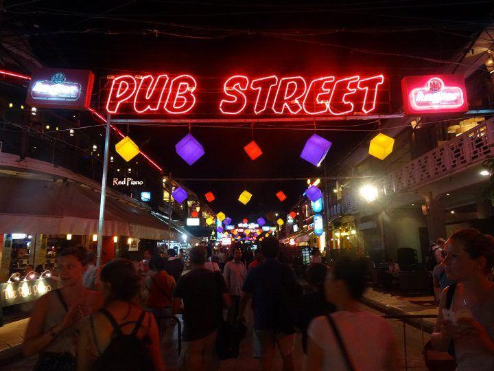 Siem Reap's pub street neon lights by night