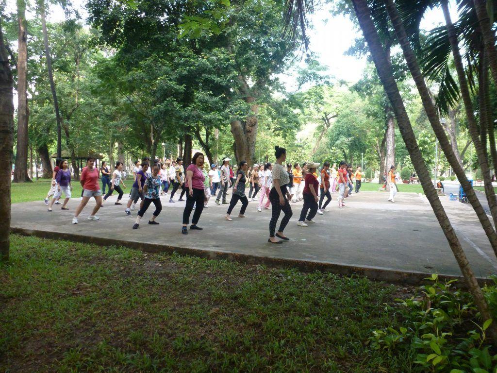 Ladies doing Tai Chi in Tao Dan Park