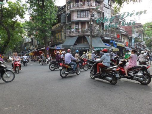 Busy scooters on the roads of Hanoi, Vietnam