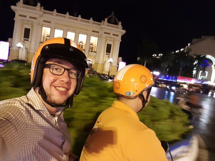 Hanoi Vespa Tour - Dylan in front of Opera House