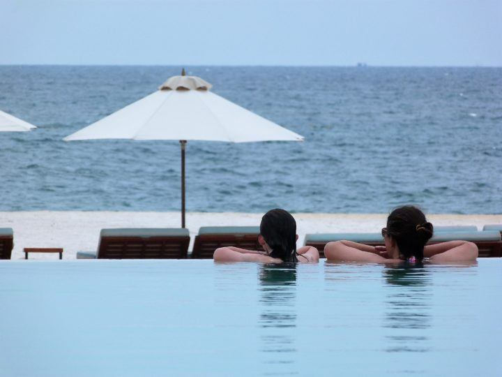 Relaxing in the pool in Phu Quoc, Vietnam