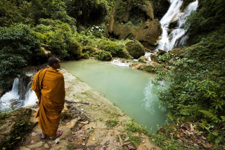 Monk at the Kuang Si Falls, Laos