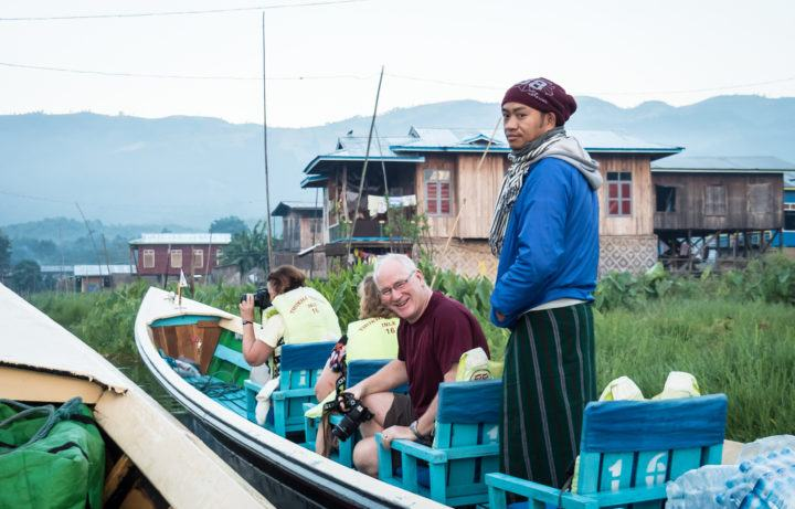 Longtail boat on Inle Lake
